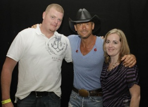 As part of the giveaway experience, the Biddles got to meet Tim McGraw and hear him in concert this summer.