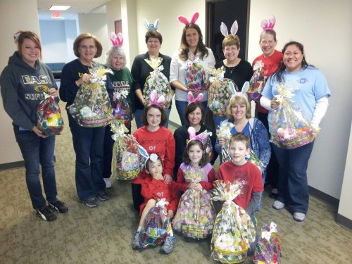 The wonderful mother and daughter teams of the National Charity lend a helping hand to the Easter Bunny visiting military families in Texas 2013