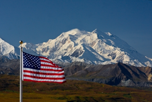 Flag at Eielson Visitor Center, Denali National Park. Photo: Wikimedia Commons
