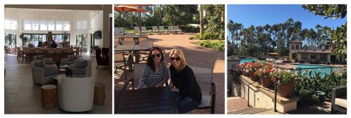 (from left to right: The atrium and open area for residents to gather. Heather and Gracie, who oversee the OH Village program in California, enjoy time on the terrace. Residents get to enjoy a scenic pool area to exercise and relax.)