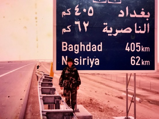 vickie at baghdad sign